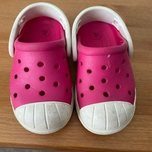 Pink and White Crocs